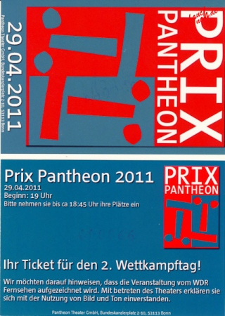 Eintrittskarte Prix Pantheon 2011