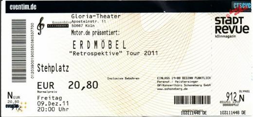 Ticket für Erdmöbel im Gloria Theater Köln - 09.12.2011