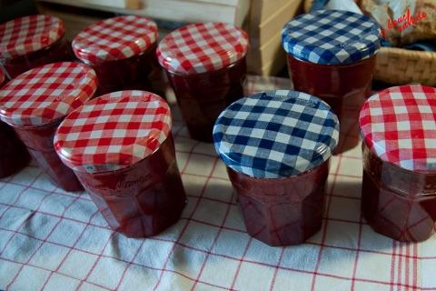 Erdbeer-Rhabarber-Vanille-Marmelade - im Glas