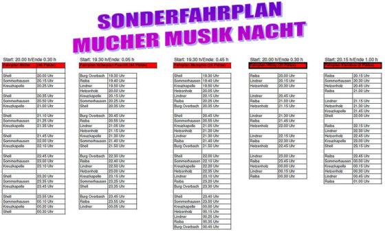 Sonderfahrplan Mucher Musik Nacht 2013